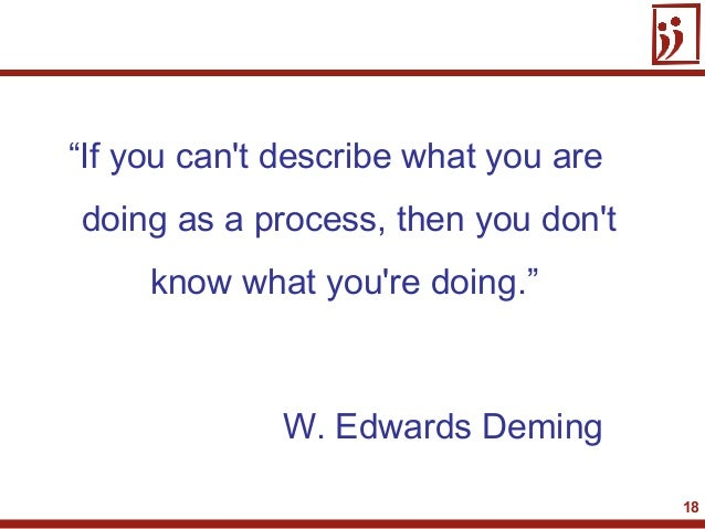 """18""""If you cant describe what you aredoing as a process, then you dontknow what youre doing.""""W. Edwards Deming"""