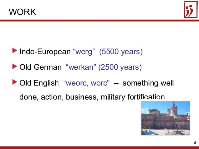 "4 Indo-European ""werg"" (5500 years) Old German ""werkan"" (2500 years) Old English ""weorc, worc"" – something welldone, ac..."