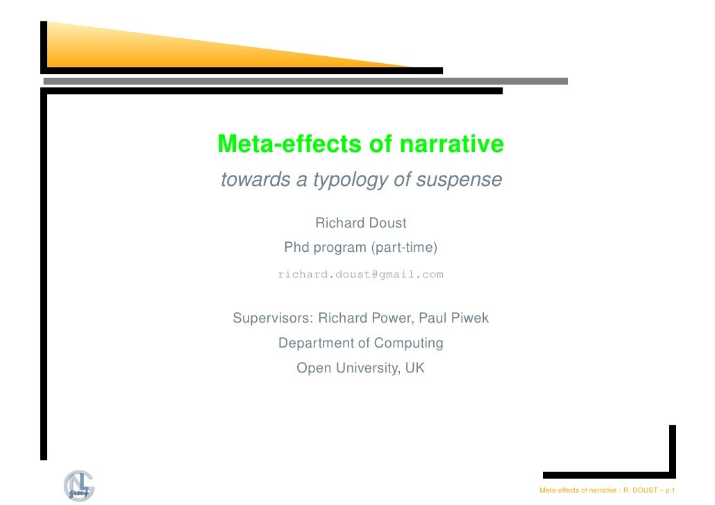 Meta-effects of narrative towards a typology of suspense               Richard Doust         Phd program (part-time)      ...