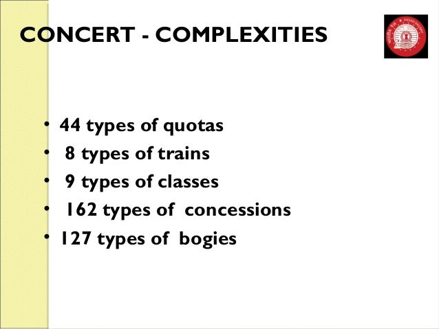 CONCERT - COMPLEXITIES  • 44 types of quotas  • 8 types of trains  • 9 types of classes  • 162 types of concessions  • 127...