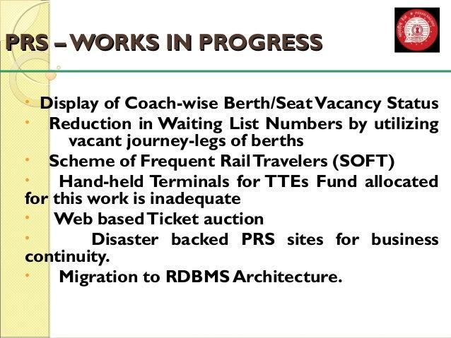 PPRRSS –– WWOORRKKSS IINN PPRROOGGRREESSSS  • Display of Coach-wise Berth/Seat Vacancy Status  • Reduction in Waiting List...
