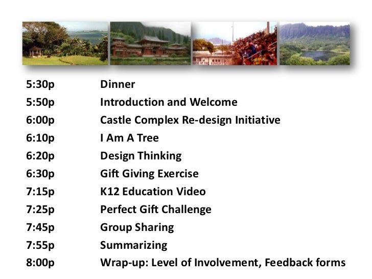 5:30p   Dinner5:50p   Introduction and Welcome6:00p   Castle Complex Re-design Initiative6:10p   I Am A Tree6:20p   Design...