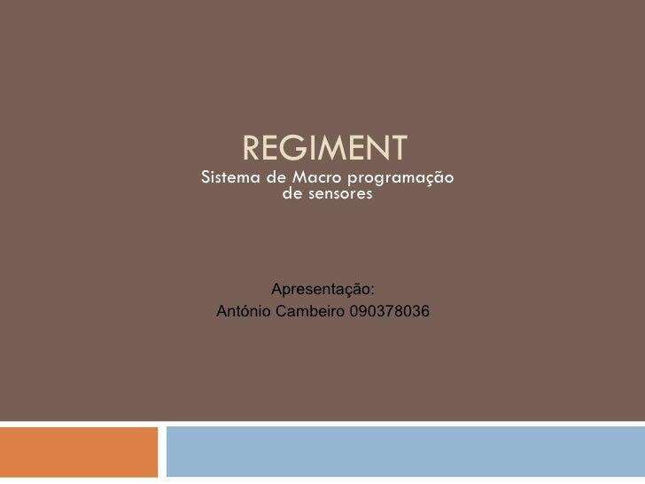 REGIMENT Sistema de Macro programação de sensores Apresentação: António Cambeiro 090378036