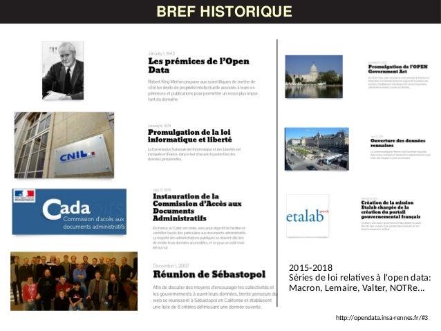 LES DONNÉESBREF HISTORIQUE http://opendata.insa-rennes.fr/#3 2015-2018 Séries de loi relatives à l'open data: Macron, Lema...