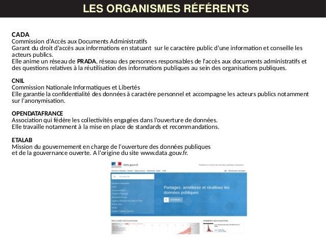 LES DONNÉESLES ORGANISMES RÉFÉRENTS CADA Commission d'Accès aux Documents Administratifs Garant du droit d'accès aux infor...