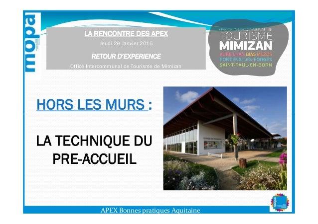 HORS LES MURS : LA RENCONTRE DES APEX Jeudi 29 Janvier 2015 RETOUR D'EXPERIENCE Office Intercommunal de Tourisme de Mimiza...