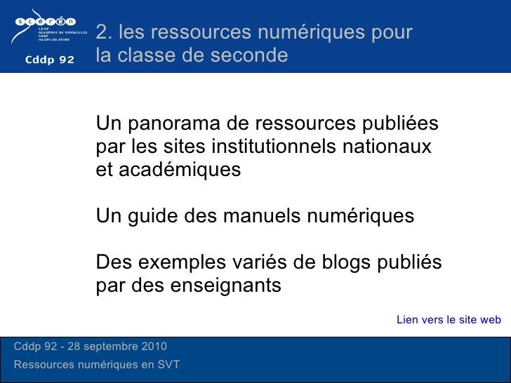 Un panorama de ressources publiées par les sites institutionnels nationaux et académiques  Un guide des manuels numériques...