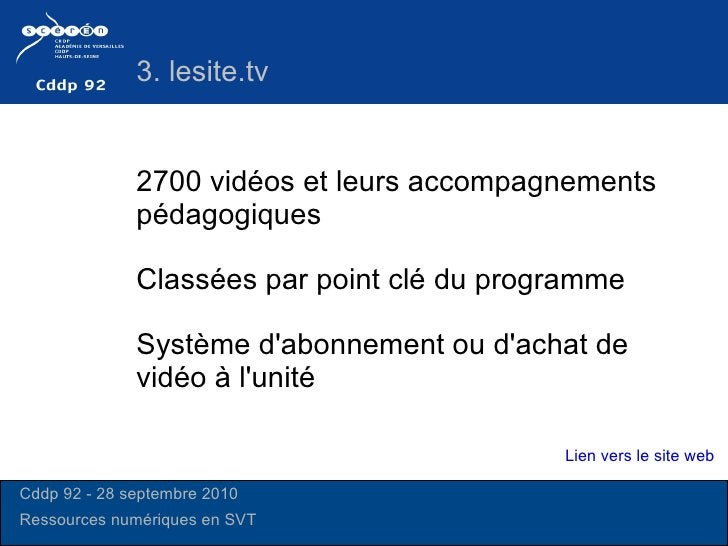 2700 vidéos et leurs accompagnements pédagogiques Système d'abonnement ou d'achat de vidéo à l'unité Classées par point cl...