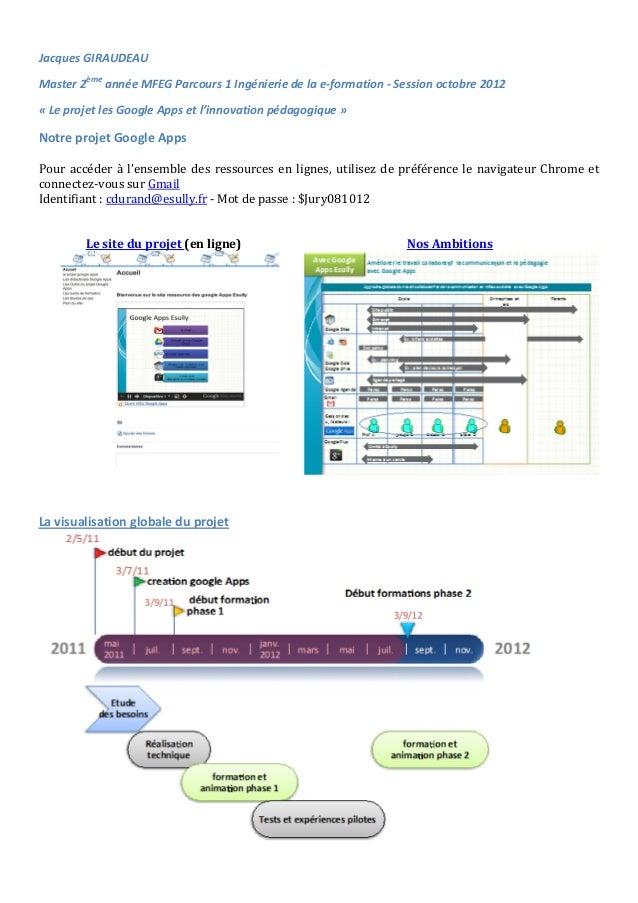 Jacques GIRAUDEAU Master 2ème année MFEG Parcours 1 Ingénierie de la e-formation - Session octobre 2012 « Le projet les Go...