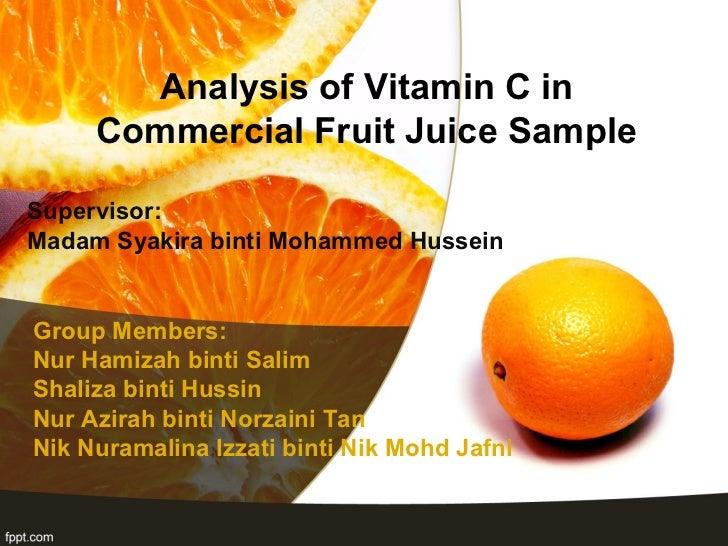 analysis vitamin c in commercial fruit juice