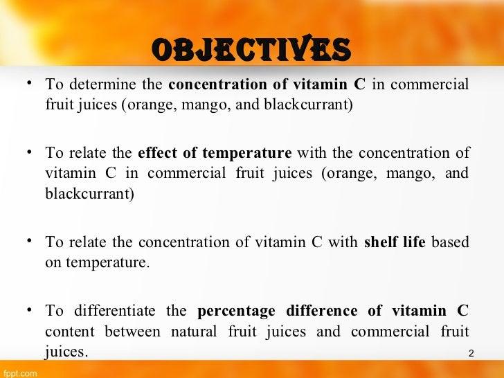 Analysis of vitamin c content