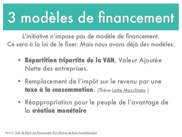 3 modèles de financement • Répartition tripartite de la VAN, Valeur Ajoutée Nette des entreprises. • Remplacement de l'impô...