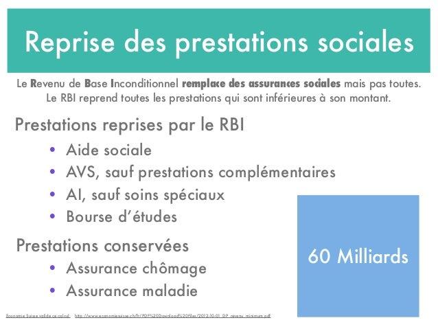 Reprise des prestations sociales • Aide sociale • AVS, sauf prestations complémentaires • AI, sauf soins spéciaux • Bourse...
