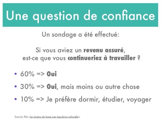 Une question de confiance • 60% => Oui • 30% => Oui, mais moins ou autre chose • 10% => Je préfère dormir, étudier, voyager...
