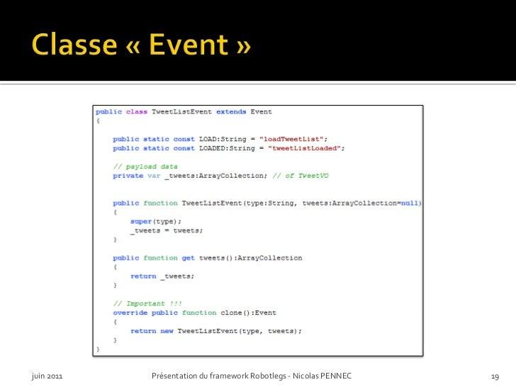 Classe «Event»<br />juin 2011<br />Présentation du framework Robotlegs - Nicolas PENNEC<br />19<br />