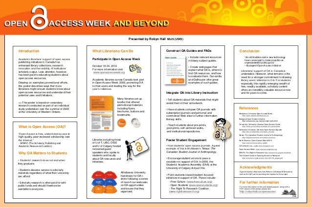 Presented by Robyn Hall MLIS (UWO)  Introduction Academic librarians' support of open access publishing initiatives in Can...