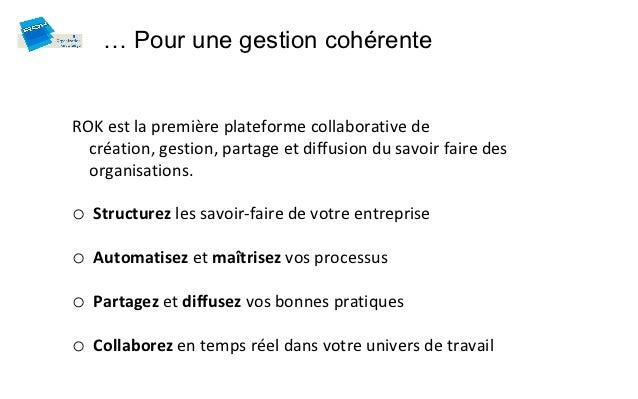 … Pour une gestion cohérenteROK est la première plateforme collaborative de  création, gestion, partage et diffusion du sa...