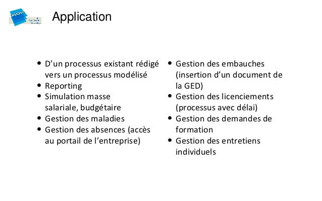 Application• D'un processus existant rédigé • Gestion des embauches    vers un processus modélisé        (insertion d'un d...