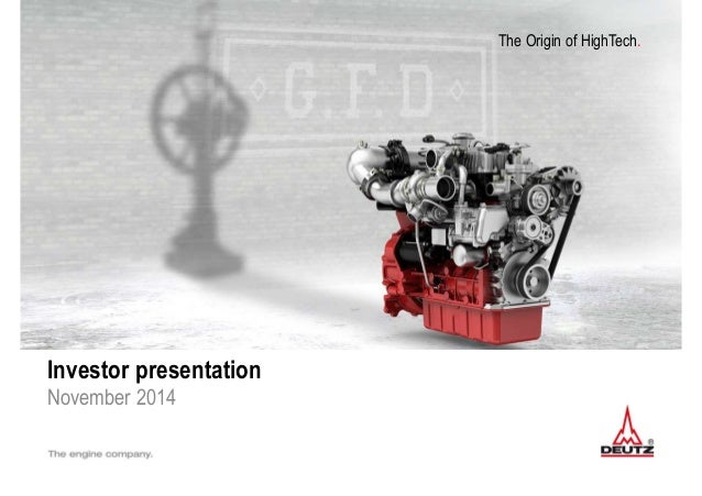 The Origin of HighTech. Investor presentation November 2014