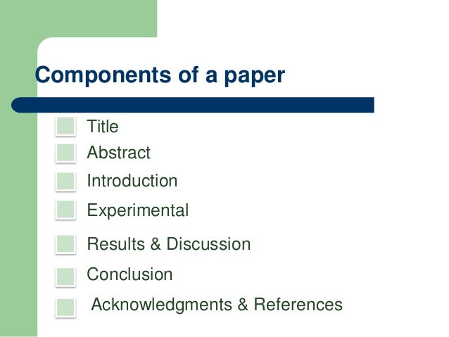 Science fair research paper components