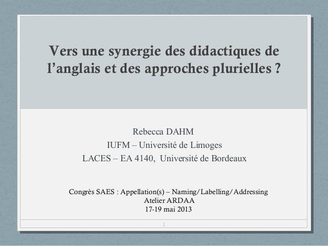 Vers une synergie des didactiques de l'anglais et des approches plurielles?  Rebecca DAHM IUFM – Université de Limoges LA...