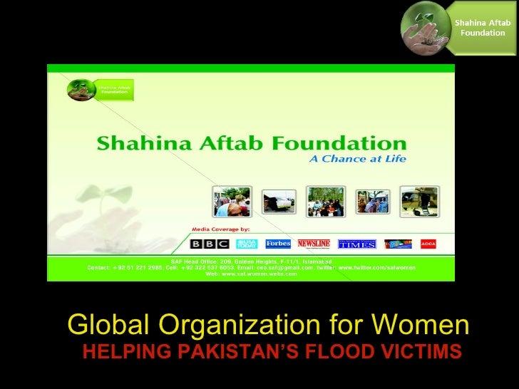 Global Organization for Women   HELPING PAKISTAN'S FLOOD VICTIMS