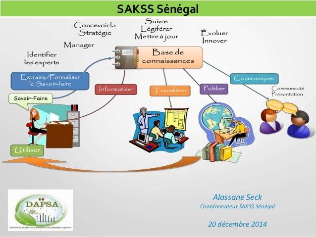 Alassane Seck Coordonnateur SAKSS Sénégal 20 décembre 2014 SAKSS Sénégal