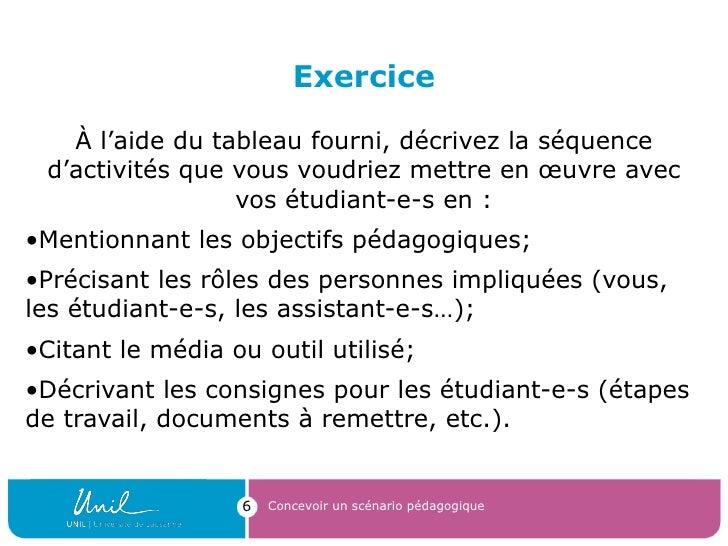 Exercice <ul><li>À l'aide du tableau fourni, décrivez la séquence d'activités que vous voudriez mettre en œuvre avec vos é...