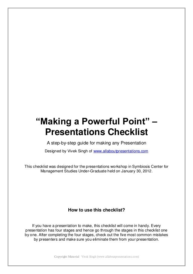 Presentations Checklist