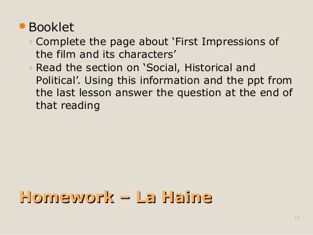 Booklet  ◦ Complete the page about 'First Impressions of  the film and its characters'  ◦ Read the section on 'Social, Hi...