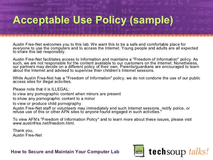 Computer Use Policy Template Secure And Maintain Your Computer Lab