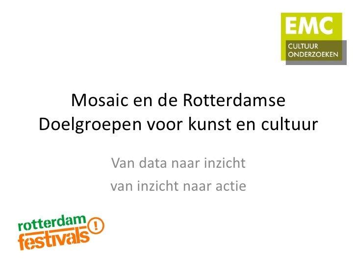 Mosaic en de RotterdamseDoelgroepen voor kunst en cultuur        Van data naar inzicht        van inzicht naar actie