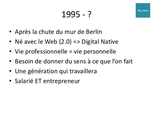 1995 - ? • • • • • •  Après la chute du mur de Berlin Né avec le Web (2.0) => Digital Native Vie professionnelle = vie per...