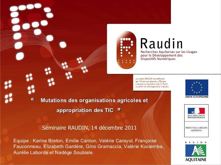 «TITRE» Séminaire RAUDIN, 14 décembre 2011 Equipe : Programme de Recherche RAUDIN «  Mutations des organisations agrico...