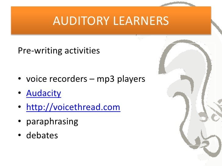 my learning style is auditory essay As with people with the logical style, you are more likely to use phrases that  reflect your dominant style out of physical, aural and visual styles here are some .
