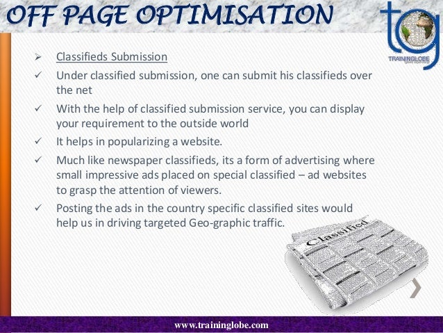 OFF PAGE OPTIMISATION   Article Submission  SEO articles are specifically written with search engines in mind, they inco...