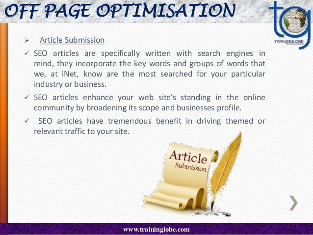 OFF PAGE OPTIMISATION   Press Release  An SEO press release or 'search engine optimized' press release is first and fore...