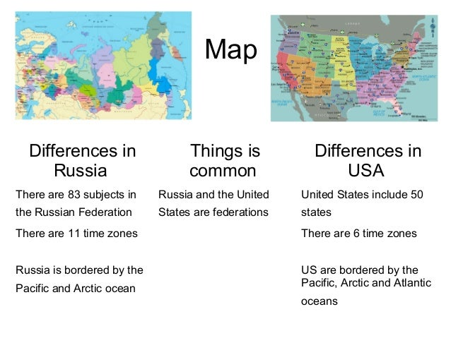 MapDifferences inRussiaThings iscommonDifferences inUSAThere are 83 subjects inthe Russian FederationRussia and the United...