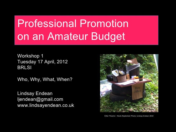 Professional Promotionon an Amateur BudgetWorkshop 1Tuesday 17 April, 2012BRLSIWho, Why, What, When?Lindsay Endeanljendean...