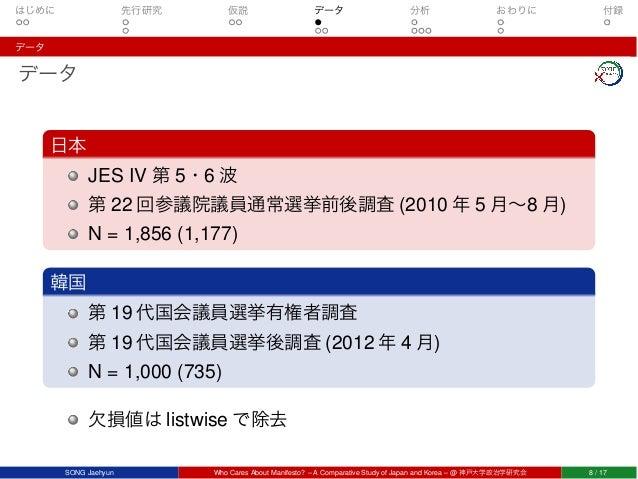 はじめに 先行研究 仮説 データ 分析 おわりに 付録 データ データ 日本 JES IV 第 5・6 波 第 22 回参議院議員通常選挙前後調査 (2010 年 5 月∼8 月) N = 1,856 (1,177) 韓国 第 19 代国会議員...