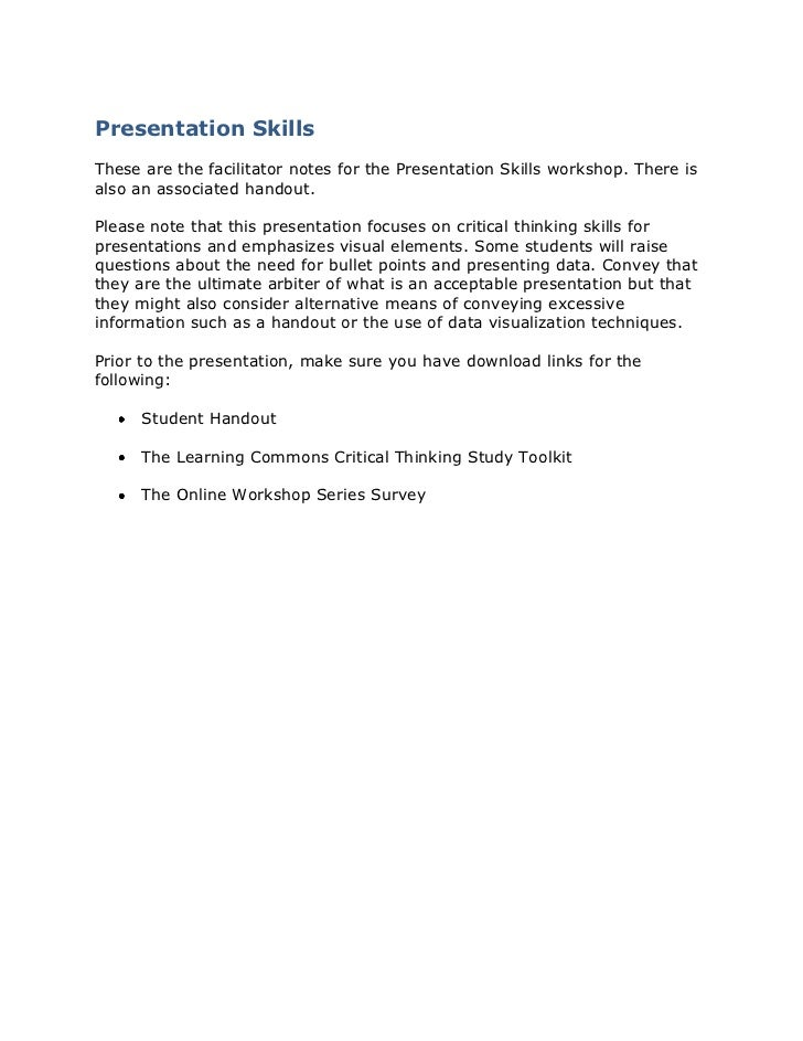 Presentation Skills<br />These are the facilitator notes for the Presentation Skills workshop. There is also an associated...