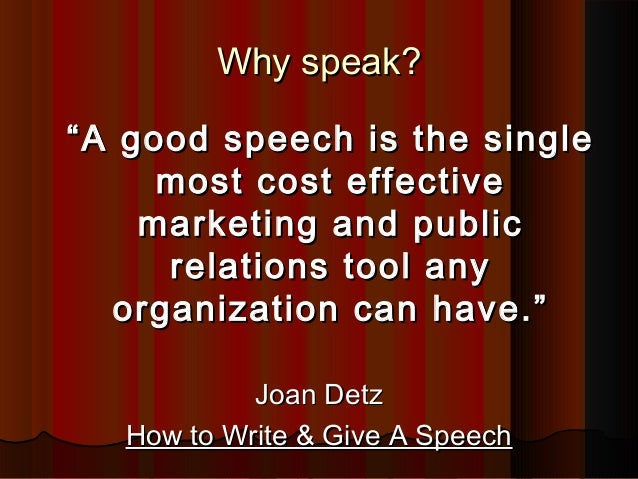 joan detz how to write and give a speech