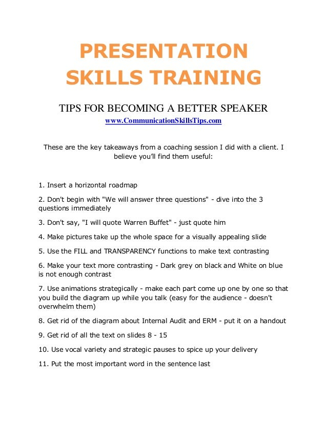 PRESENTATION         SKILLS TRAINING      TIPS FOR BECOMING A BETTER SPEAKER                      www.CommunicationSkillsT...