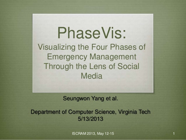 ISCRAM 2013, May 12-15 1 PhaseVis: Visualizing the Four Phases of Emergency Management Through the Lens of Social Media Se...