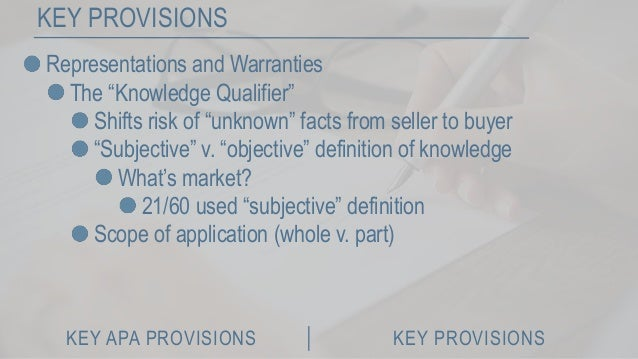 Key Provisions In The Negotiation Of Asset Purchase Agreements