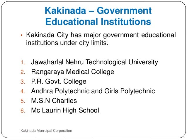 Govt presentation for kakinada as smart city for City polytechnic high school of engineering architecture and technology