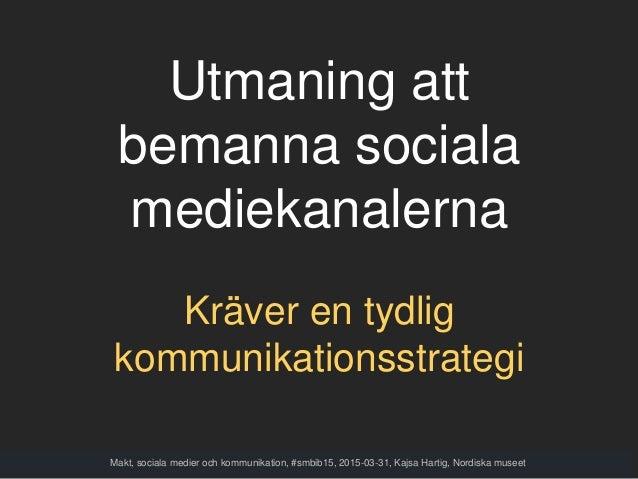 Utmaning att bemanna sociala mediekanalerna Kräver en tydlig kommunikationsstrategi Makt, sociala medier och kommunikation...
