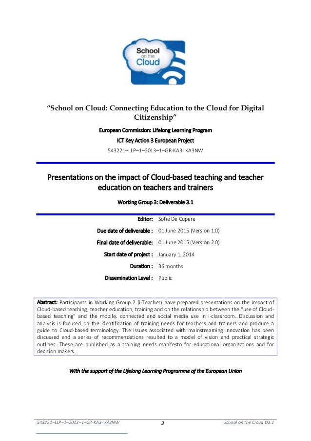 """543221–LLP–1–2013–1–GR-KA3- KA3NW 3 School on the Cloud D3.1 """"School on Cloud: Connecting Education to the Cloud for Digit..."""