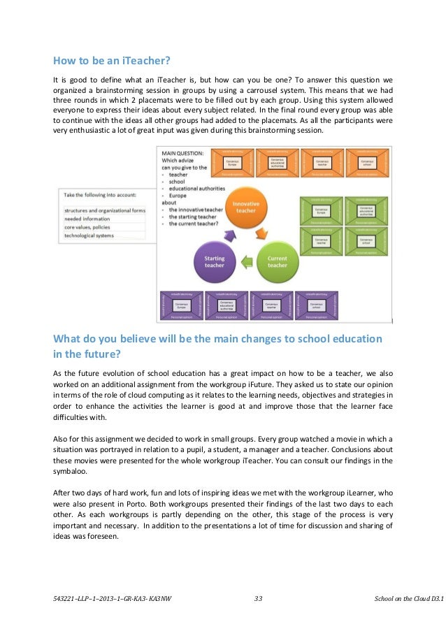543221–LLP–1–2013–1–GR-KA3- KA3NW 33 School on the Cloud D3.1 How to be an iTeacher? It is good to define what an iTeacher...