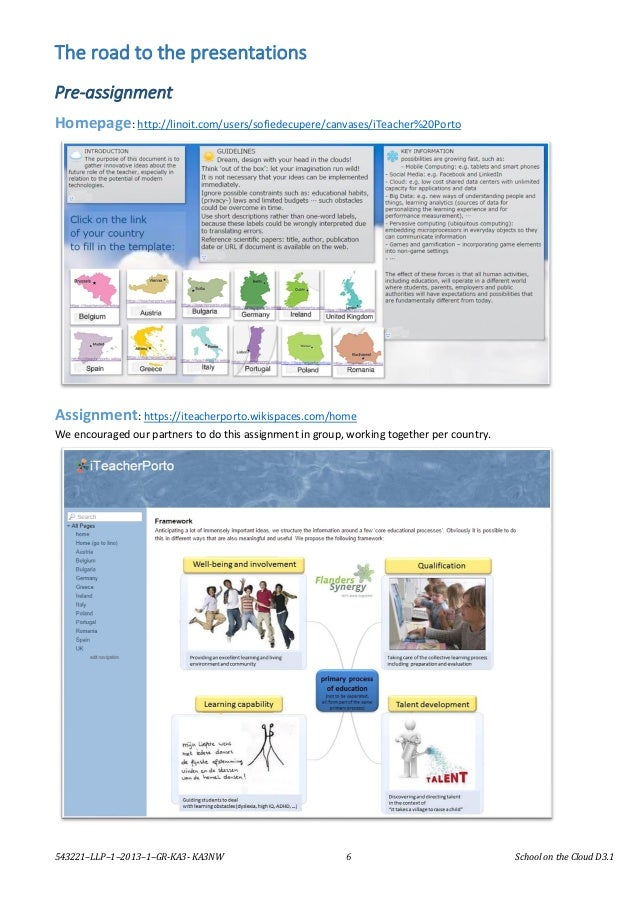 543221–LLP–1–2013–1–GR-KA3- KA3NW 6 School on the Cloud D3.1 The road to the presentations Pre-assignment Homepage: http:/...